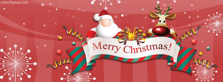 Christmas Facebook Cover Photo.Santa Reindeer Merry Christmas Banner Facebook Cover