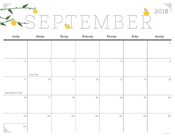 Print September 2018 Calendar September 2018 Printable Calendar