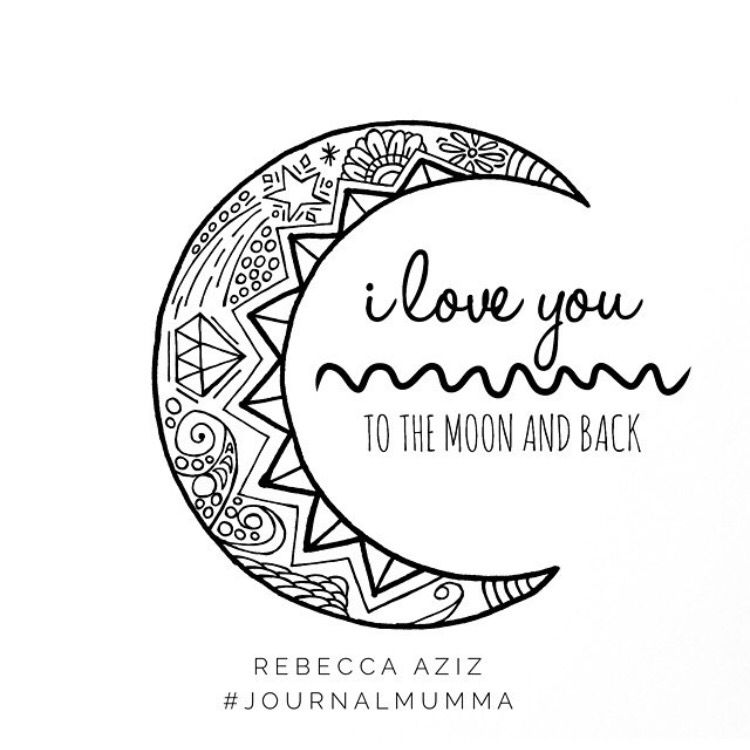 I love you to the moon and back - hand drawn colouring page www ...