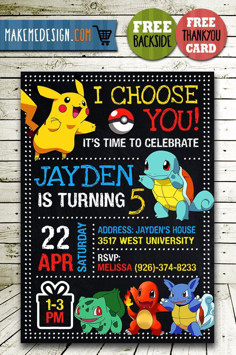 Pokemon Birthday Party Invitations New Pokemon Party Invites Pokemon Invite Pikachu Invitation Pokemon Pokemon Invitations Pokemon Party Pokemon Birthday Party