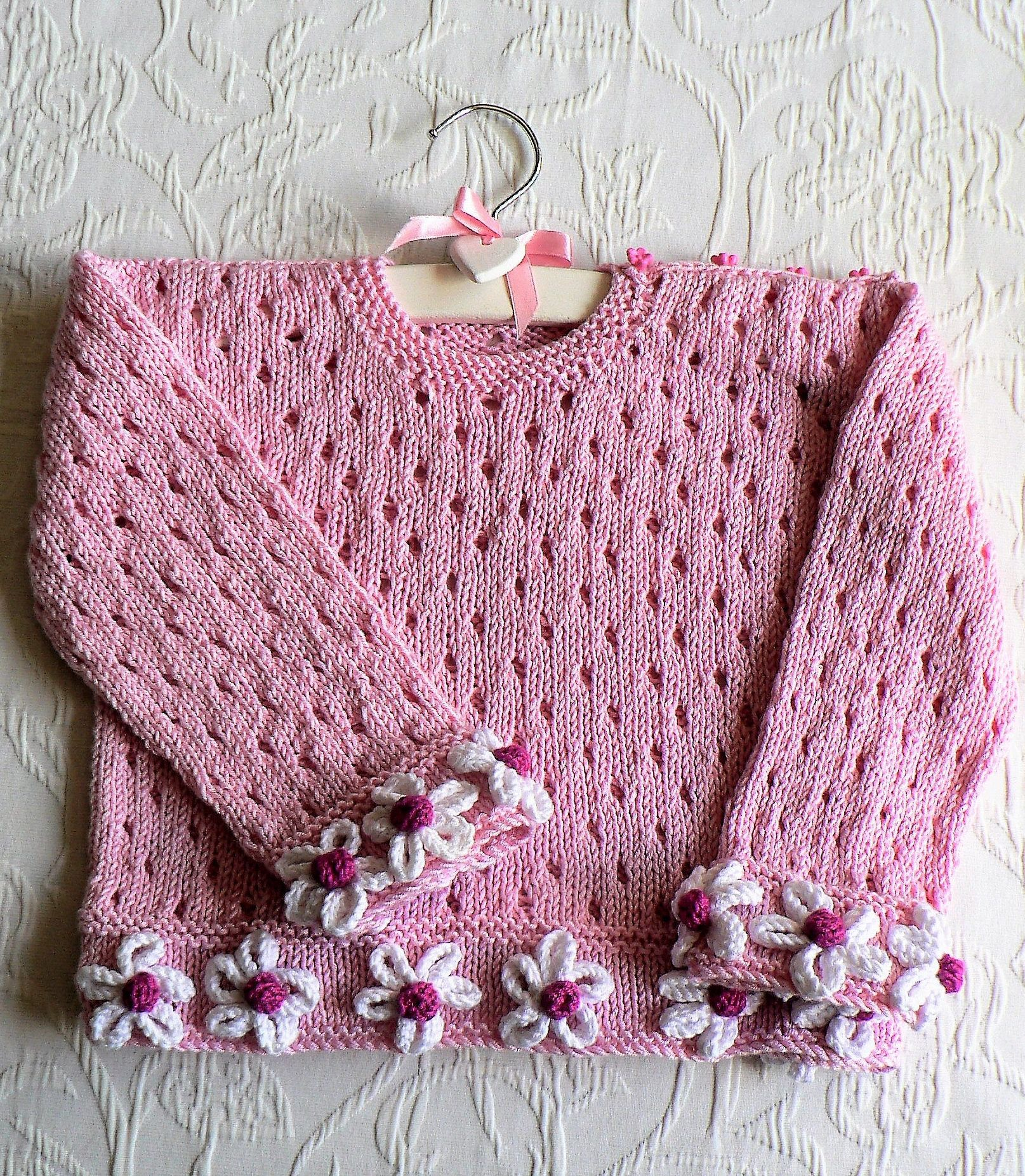 Knitting pattern for daisy days baby sweater long sleeved knitting pattern for daisy days baby sweater long sleeved pullover with buttons at shoulders in bankloansurffo Gallery