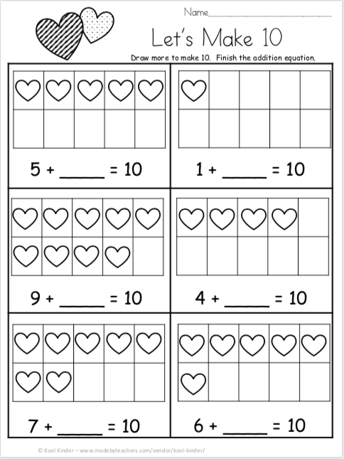 Free Valentine S Day Addition For Kindergarten Let S Make 10 Made By Teachers Math Addition Worksheets Kindergarten Math Free Kindergarten Math Addition