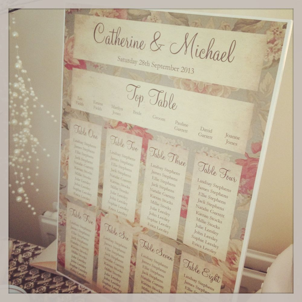 1 Fl Shabby Chic A3 Wedding Table Seating Plan