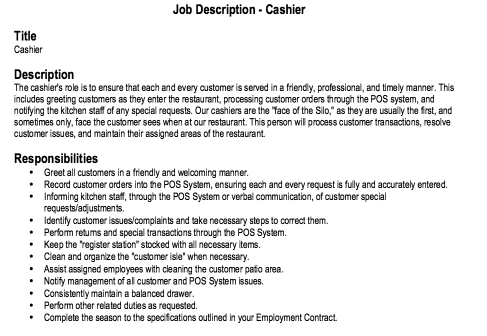 Restaurant Cashier Job Description Resume http