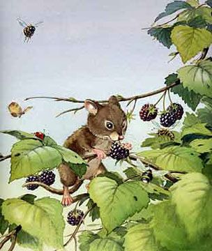 Maustitel - Mouse & Berries - reminiscent of Hanga woodcuts