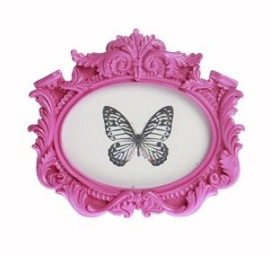 Pink Resin Baroque Vintage Photo Frame Oval Landscape NEW Shabby Chic