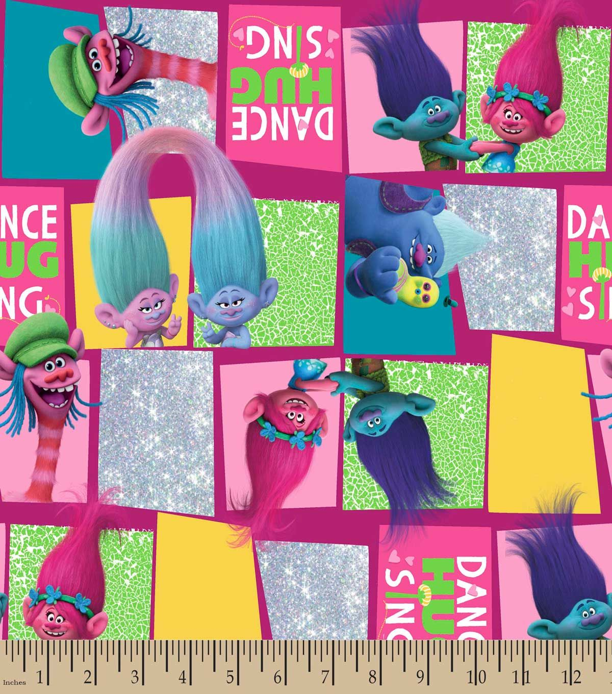 Trolls Dance Hug & Sing Print Fabric | Fabric Finds with JOANN ...