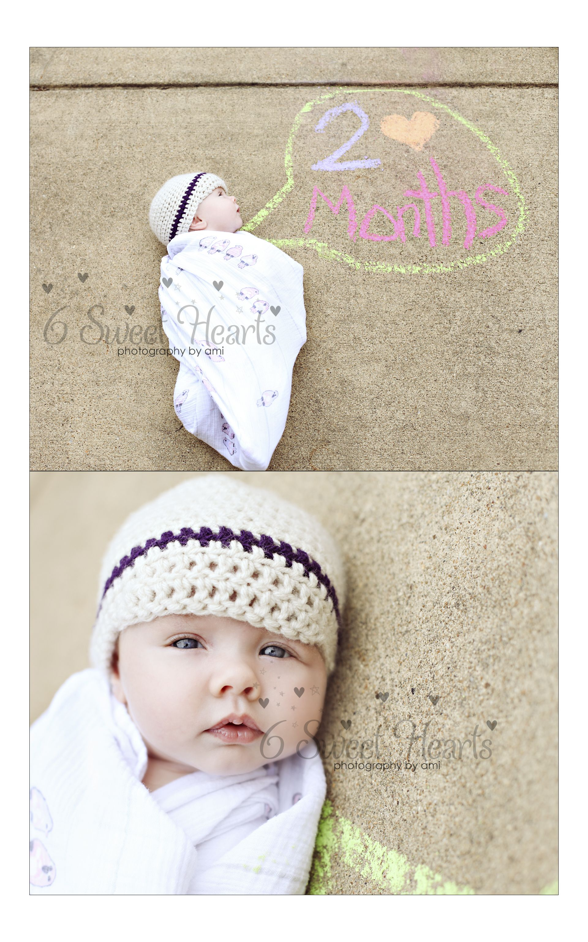2 month old baby pose cement and chalk for all the babies milestone