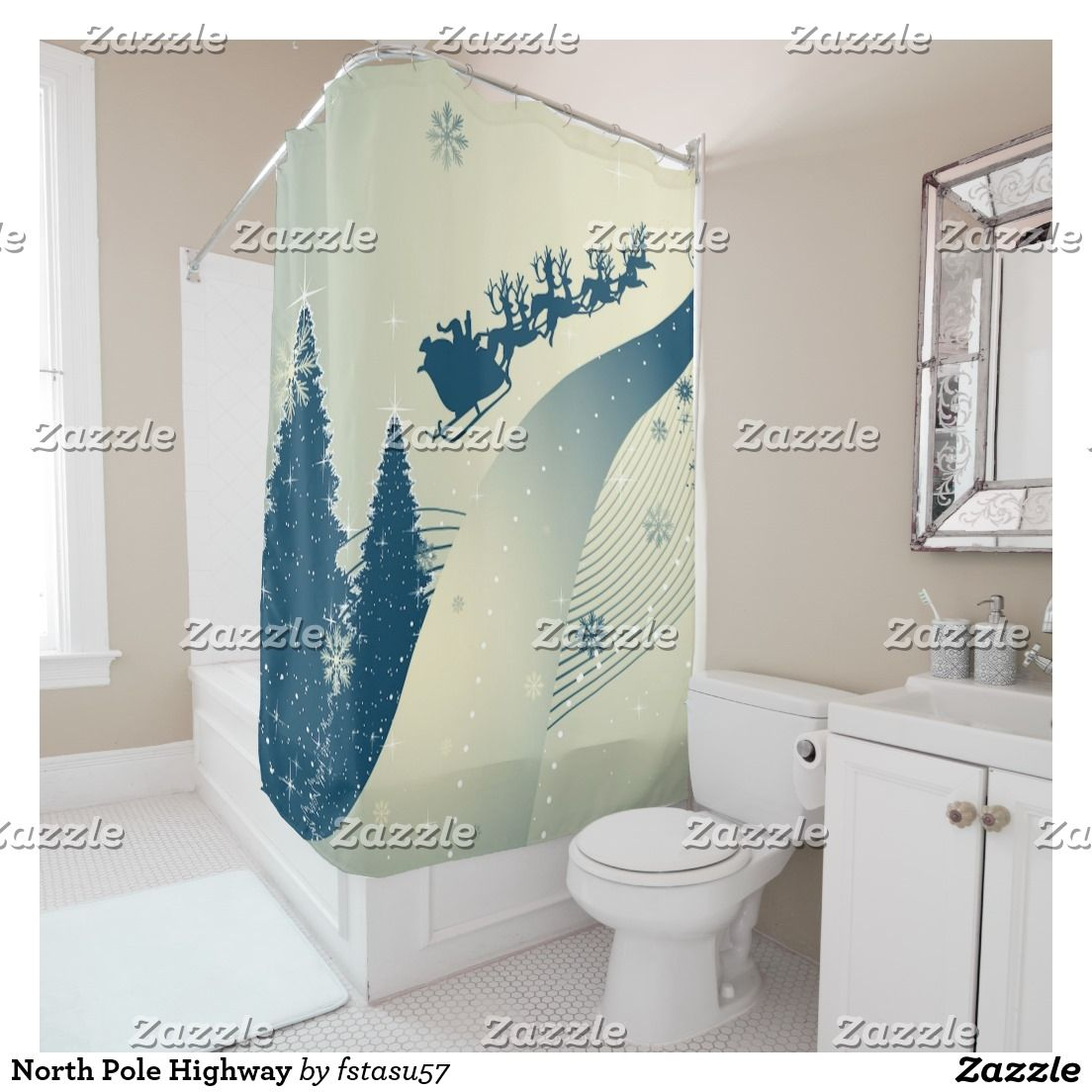 North Pole Highway Shower Curtain | North pole