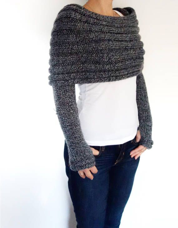 Knitting PATTERN - Convertible Scarf with Sleeves/ Wrap Around Thumb Holes Shrug/ Modern Chunky Shoulders Cover-up