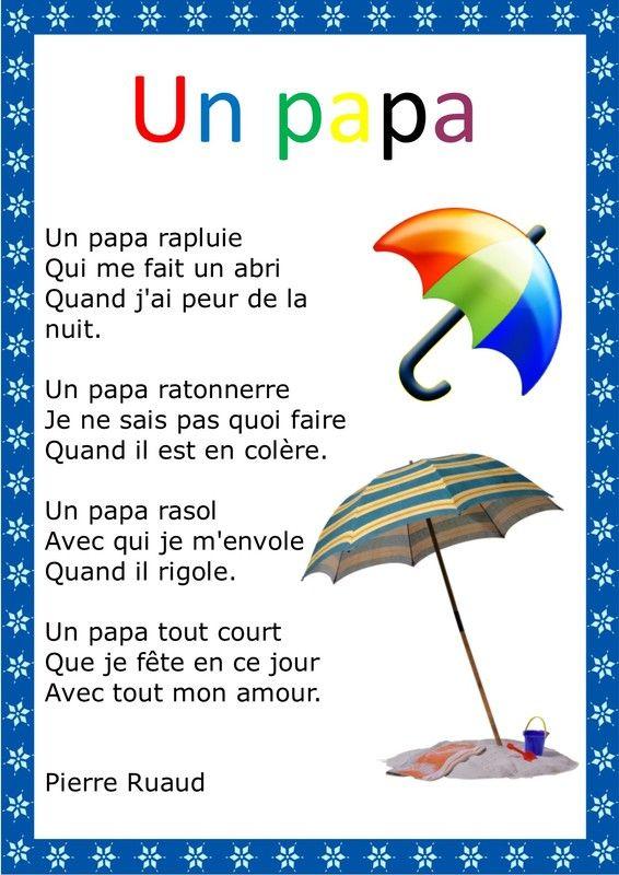 Poeme Pour La Fete De Père Google Search Poème Fête Des