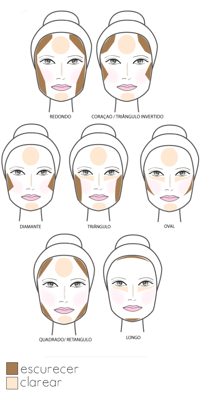 4dabfd6c10be4 Guia de como trabalhar com sombrar para corrigir o rosto.   make up ...