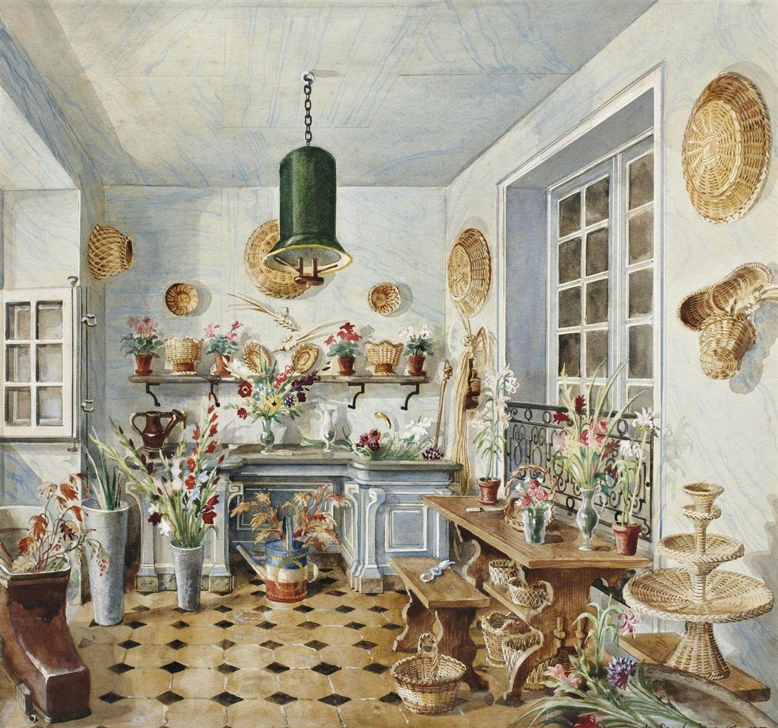 Flower Room, Hôtel Rodocanachi (watercolor, gouache, pencil, ink) 1950, Alexandre Serebriakoff