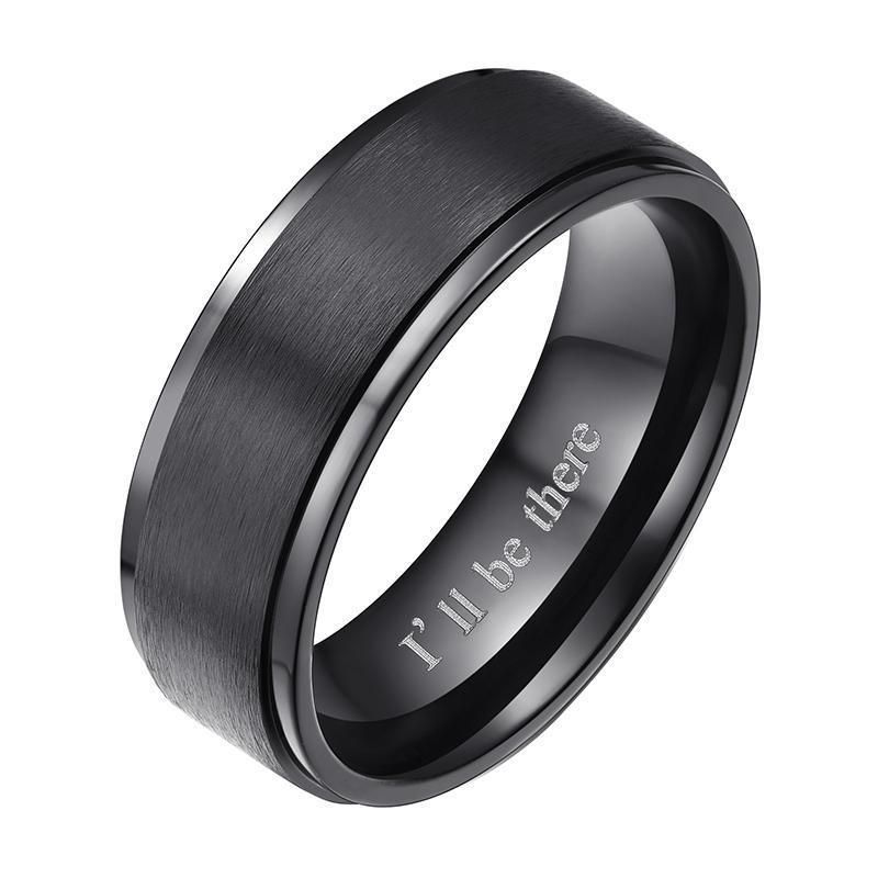 Cavalier Jewelers 8MM Titanium Promise Engagement Rings for Men Wedding Bands for Him with Custom Laser Engraving