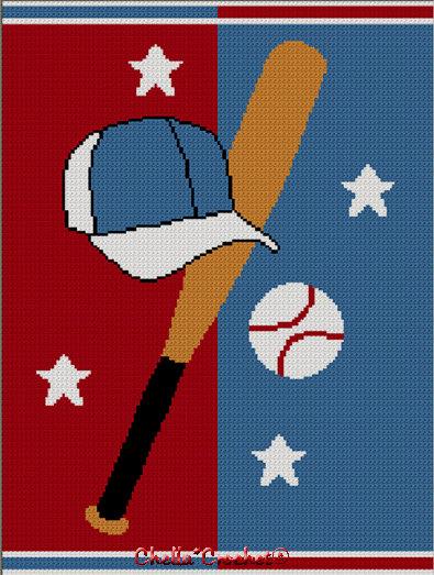 Instant Download Chella Crochet Baseball Cap Bat Ball Afghan Crochet