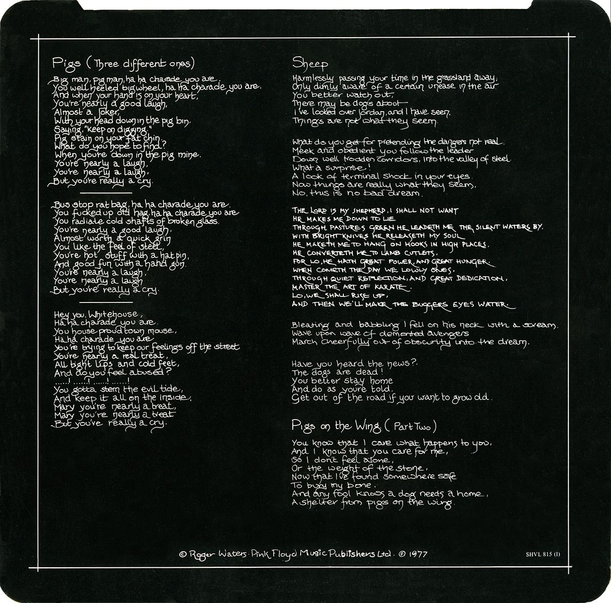 Animals lyrics side A Entretenimiento