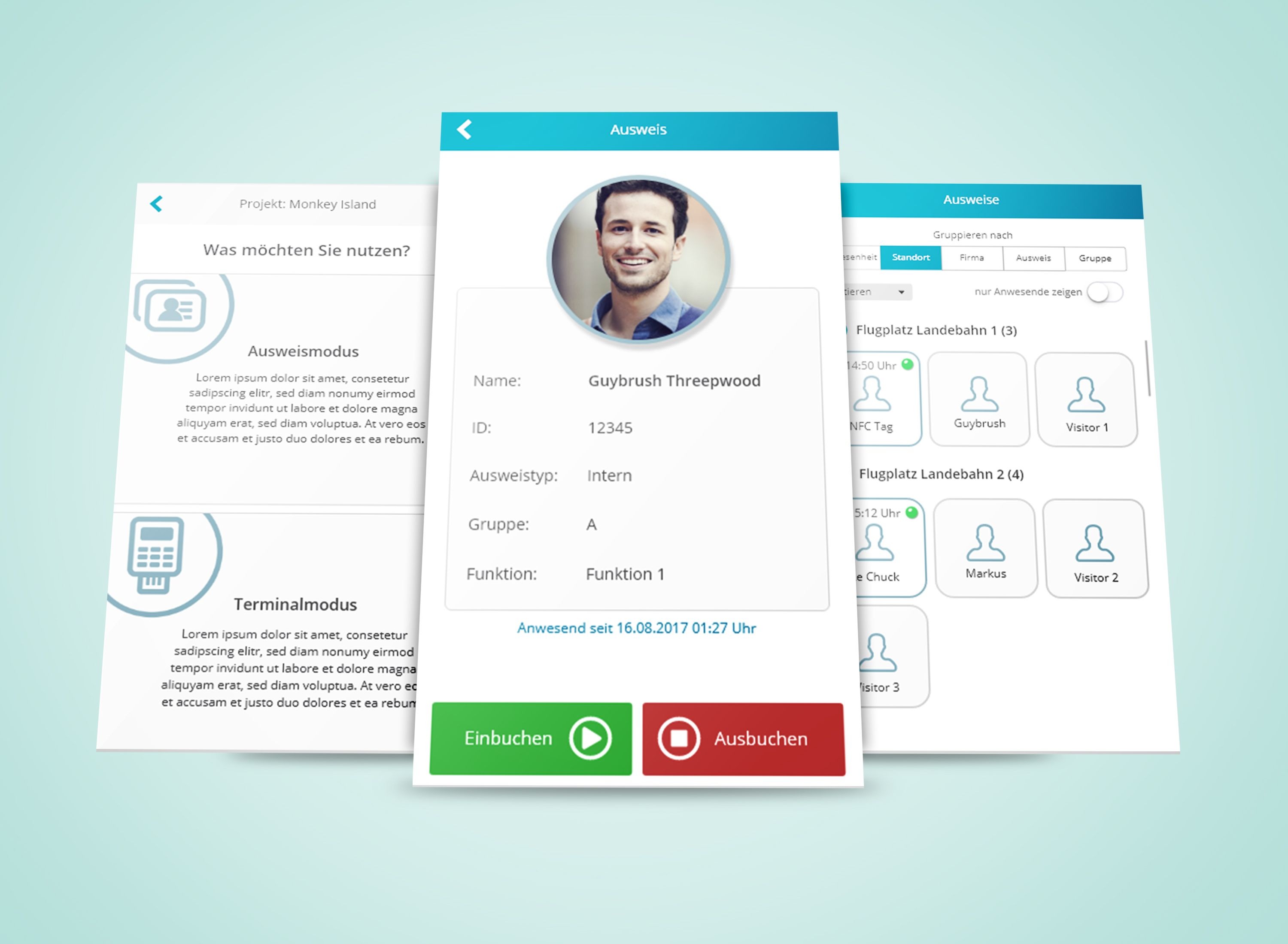 Simple mobile App design with profile, filter options