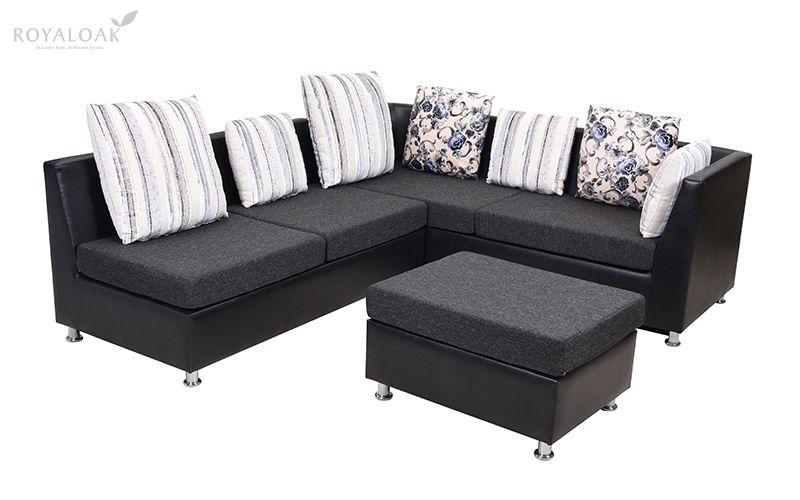 Royaloak Miami Corner Sofa In Fabric And Air Leather L Shaped