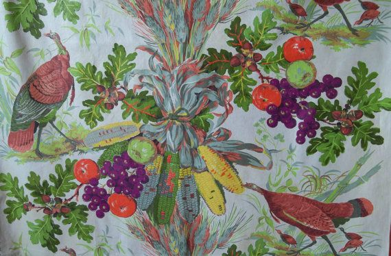 Vintage 1950s Thanksgiving Fabric Wild by RebeccasVintageSalon, $24.00