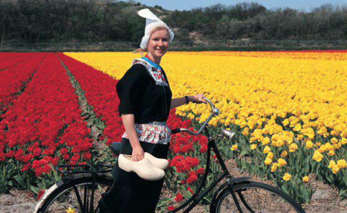 RT art .. André de Geus Cheese wife antje, with the bike for a Tulip field, typical Netherlands.s