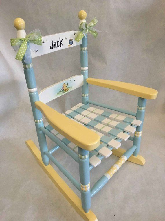 Painted rocking chair, toddler rocking chair, hand painted children's furniture, baby shower gift, kids rockers is part of Painted rocking chairs - hand painted classic pooh and friends rocking chair   perfect gift or just because     every child loves a rocking chair painted with pooh,,piglet and tigger  finished with bows  for personalization, please add child's name in  notes  area when ordering  size 22 5 h x 18 5 d x 15 w seat height this is a smaller rocking chair, recommended for children 14 years old, up to 80 lbs