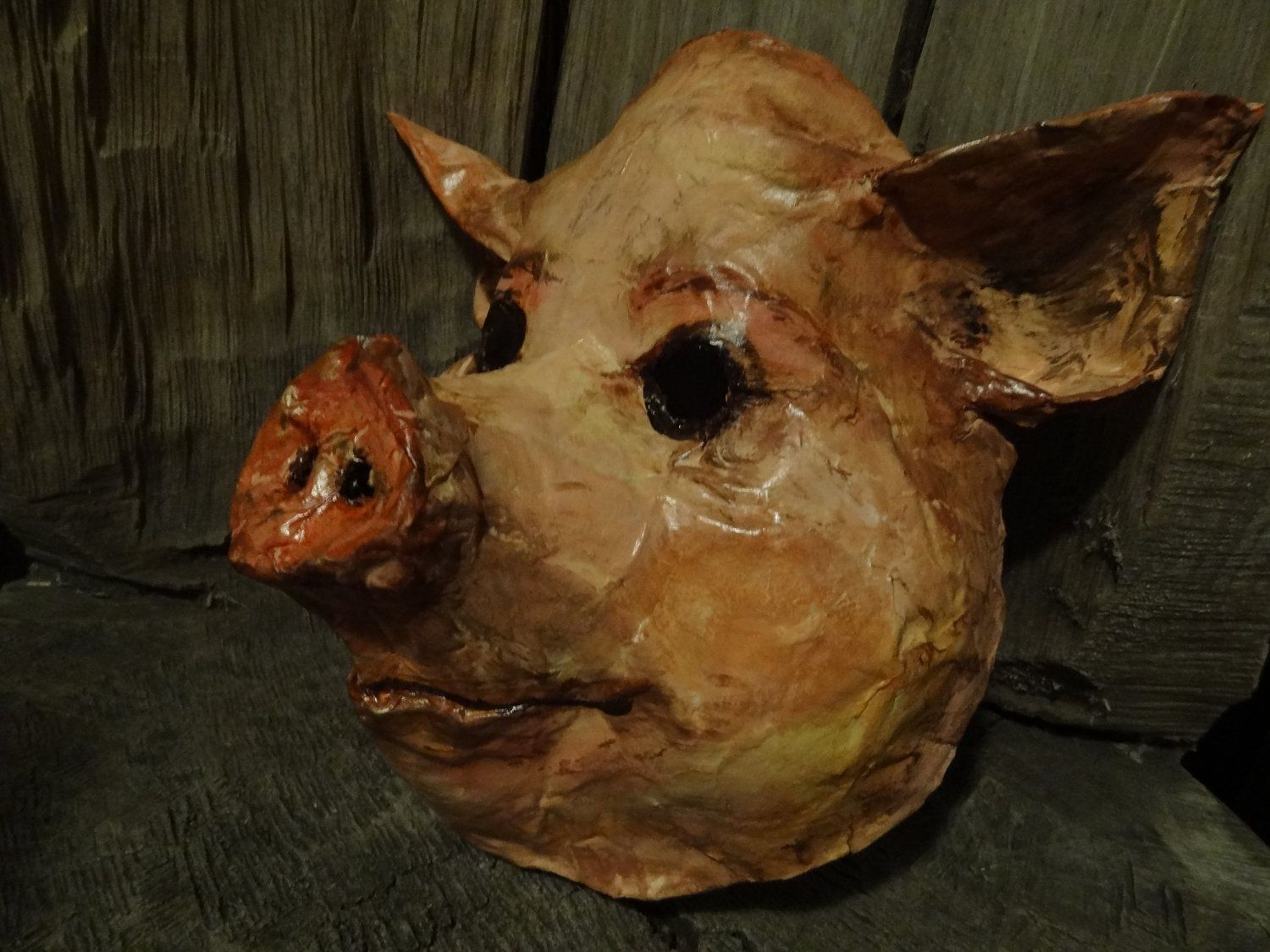 Paper mache pig mask animal mask head mask. $54.00, via Etsy ...