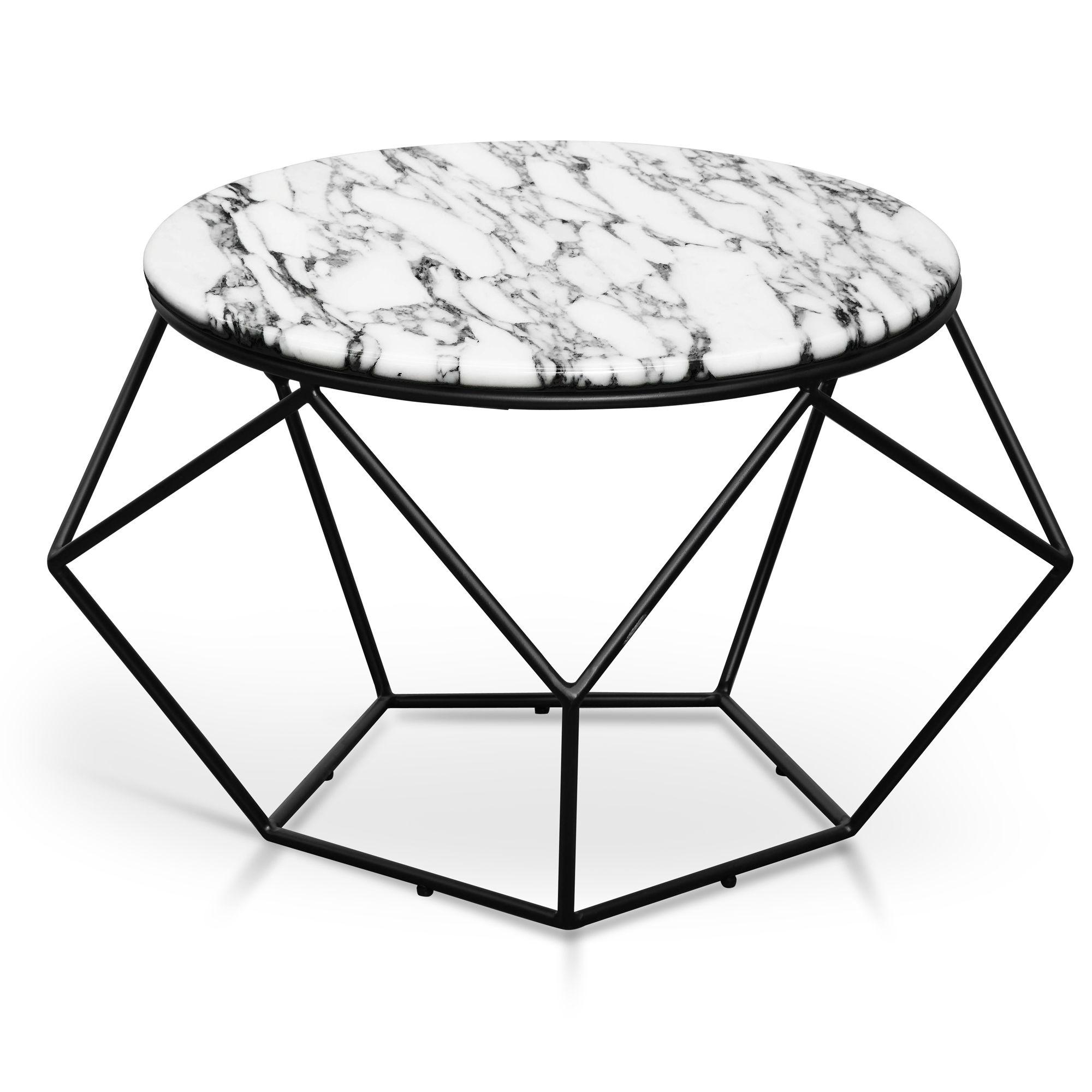 Ivan 72cm Marble Coffee Table Matt Black Base Marble Coffee