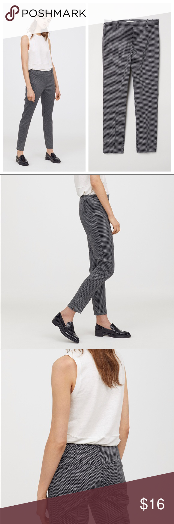 New women's black and white slacks. New H&M women's black and white slacks. Pants length is 37 inches long and inseam 28 inches and has a side zipper . A07 H&M Pants #whiteslacks New women's black and white slacks. New H&M women's black and white slacks. Pants length is 37 inches long and inseam 28 inches and has a side zipper . A07 H&M Pants #whiteslacks