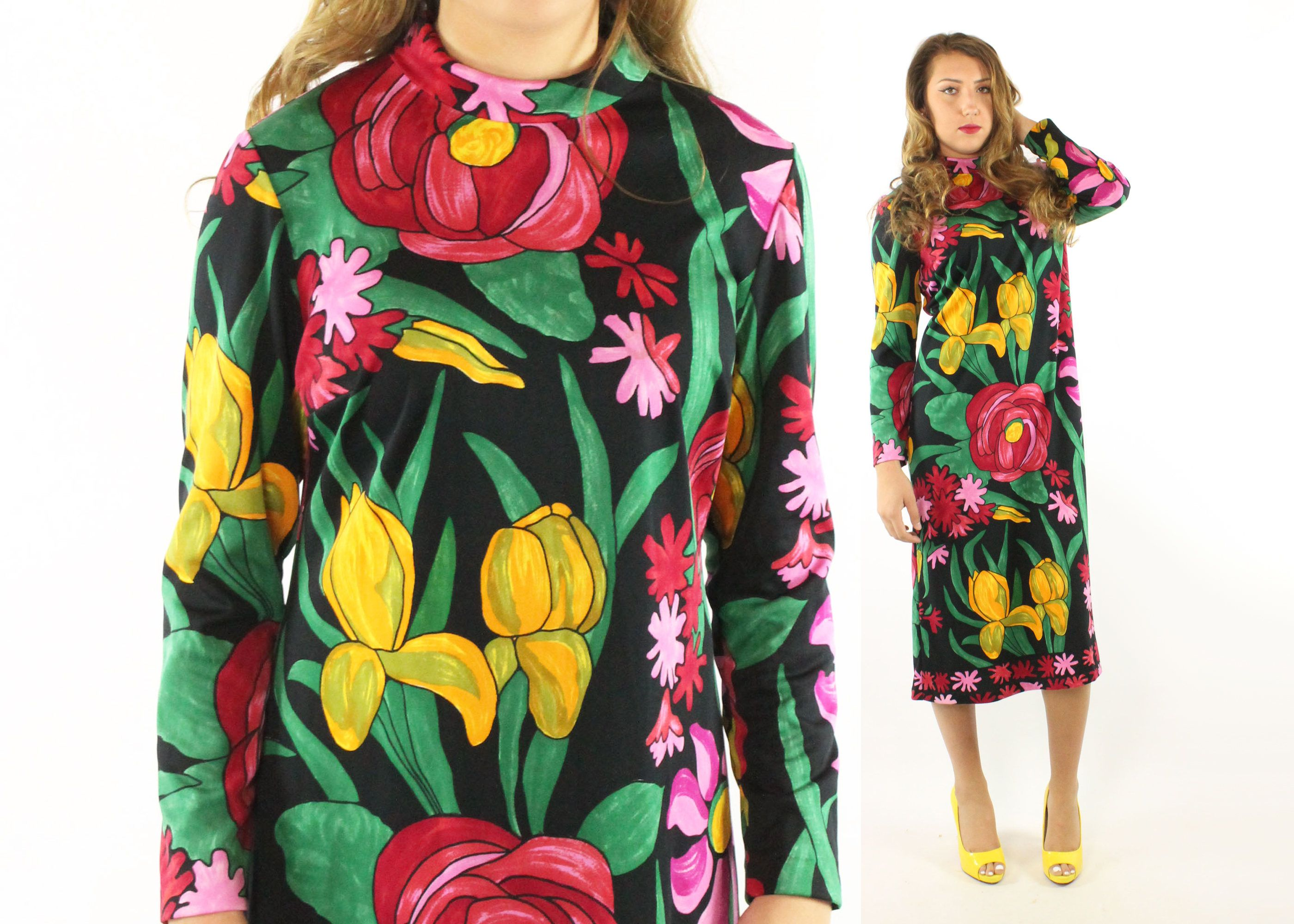 Reserved Please Do Not Buy Vintage 70s Saul Villa Dress Floral Etsy Long Sleeve Shift Dress Shift Dress Black Black Knit [ 2000 x 2800 Pixel ]