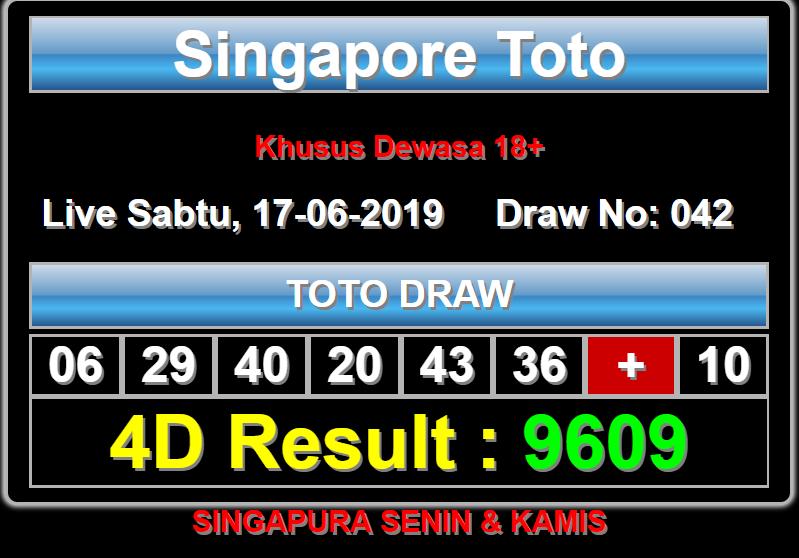 "Pasaran ""SingaporeToto"" 17*06*2019🎊 Result 9609 Sshio"
