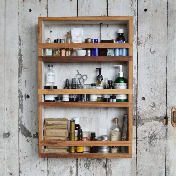 Wood Apothecary Cabinet, Essential Oils Storage, Bathroom Decor, Kitchen Organization, Rustic Home Decor by Peg and Awl