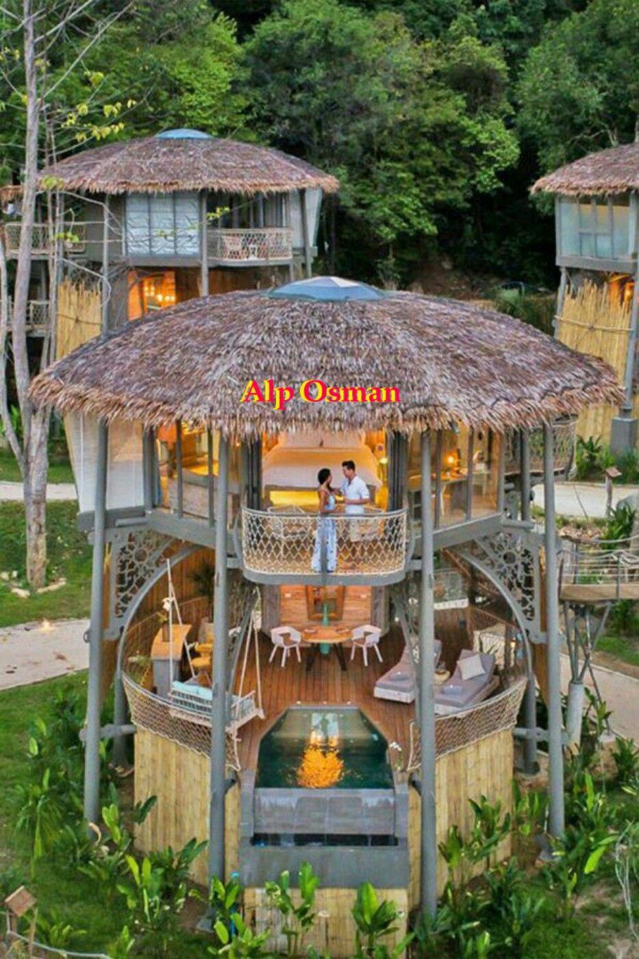 Pin By Konuralp Alperkagankarakoc On Küçük Ev Modelleri Tiny Houses Little Cabin Treehouse Villas Bamboo House Design Resort Architecture