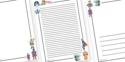 Handwriting Paper Printable Free Superhero Page Borders Stationary For Kids To Write Missionaries On .