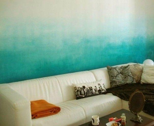Coole Streichen Ideen Und Techniken Für Moderne Wandgestaltung In ... Wandgestaltung Wohnzimmer Blau