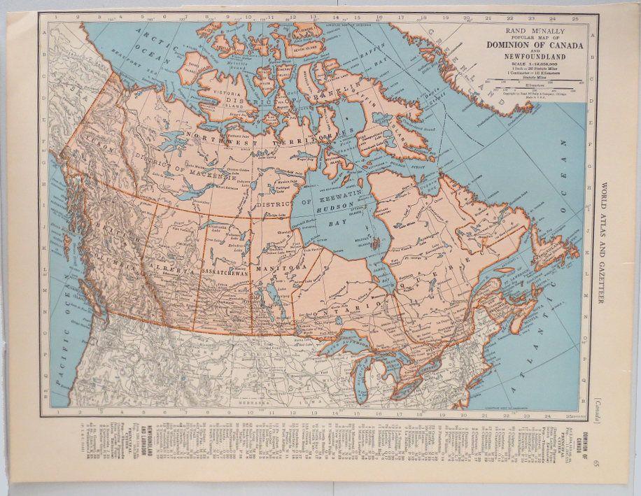 Vintage Map of Canada Vintage Map