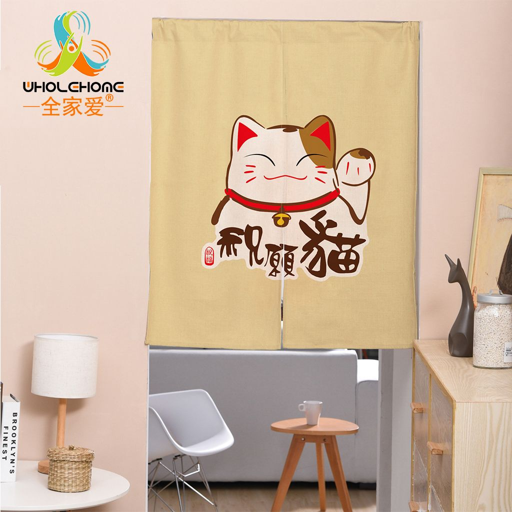 Japanese Door Curtain Linen Cotton Wave Cat Printed Curtains for ...