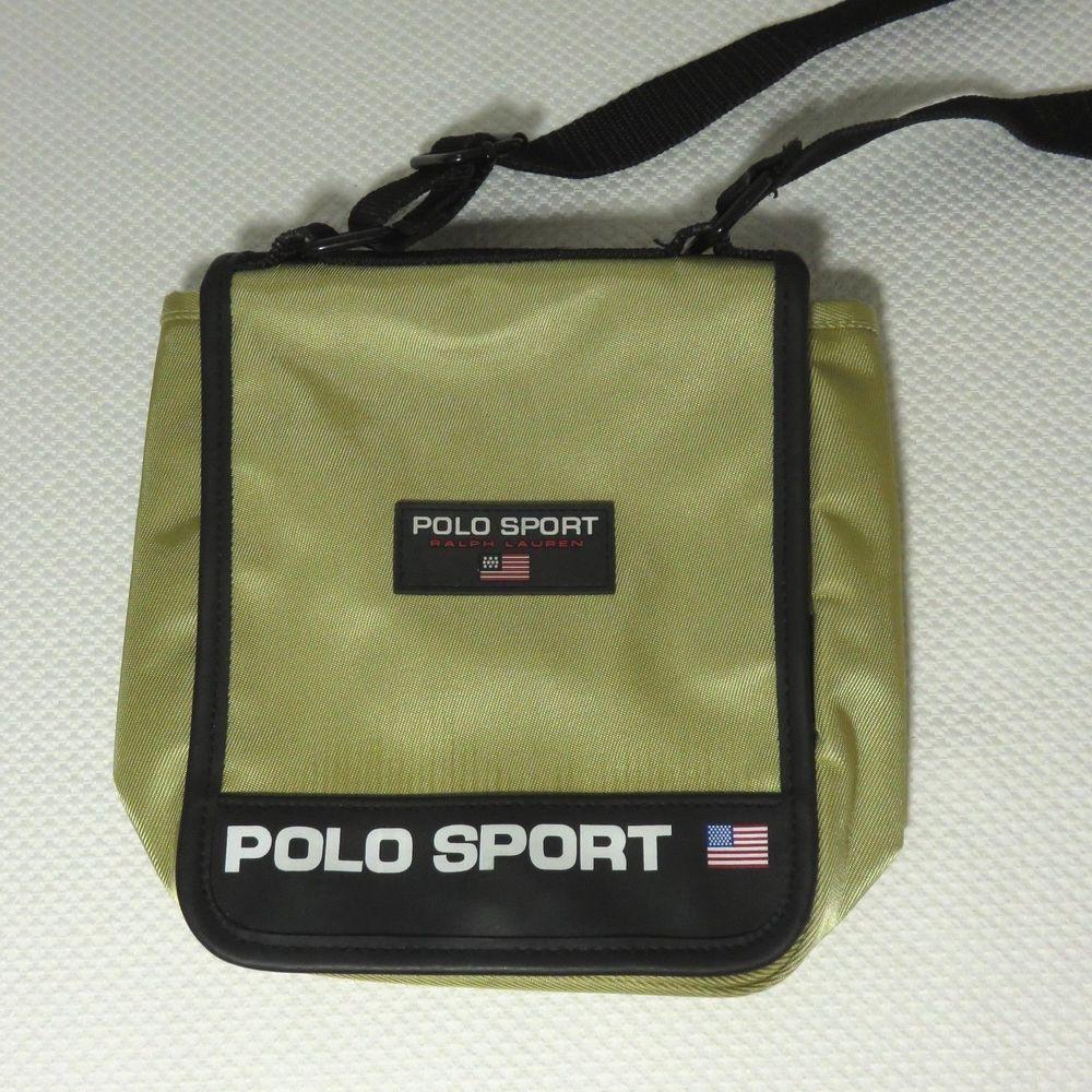 e0463f4d9e Vtg 90s Gold Polo Sport Spelled Out Ralph Lauren Crossbody Flap Purse  Handbag  PoloSport  Crossbody