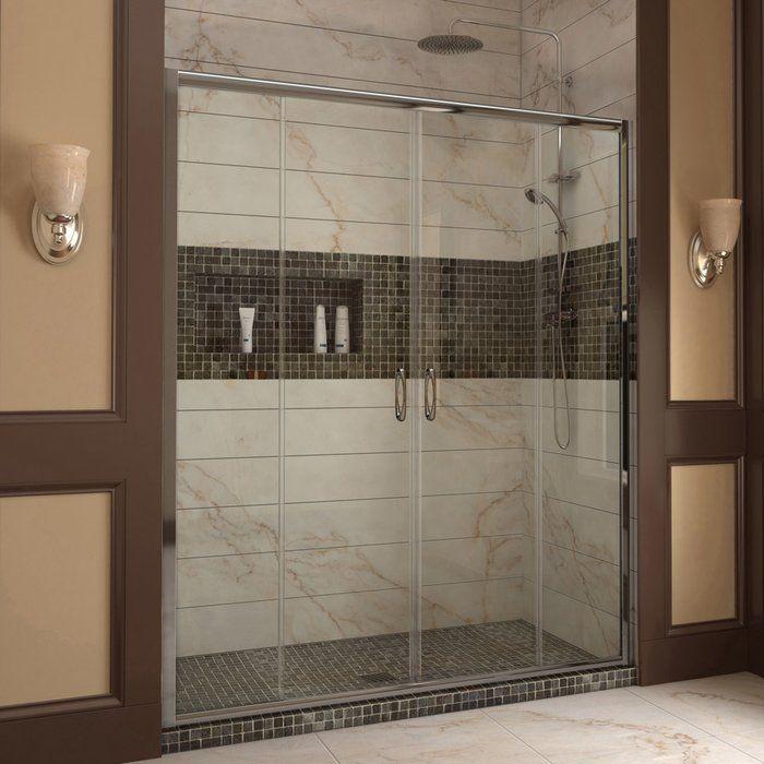Visions 56 W X 72 H Double Sliding Semi Frameless Shower Door Shower Doors Bypass Sliding Shower Doors Frameless Sliding Shower Doors
