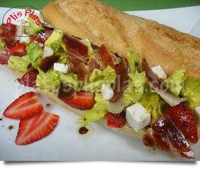 Bocata de jamón ibérico con fresas | Platos Plis PlasPlatos Plis Plas