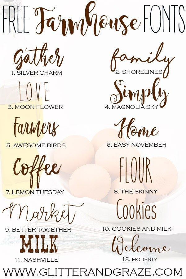 A collection of free farmhouse fonts that you can download and use in Cricut des... - Quotes & Fonts - #collection #Cricut #des #download #farmhouse #fonts #FREE #Quotes #cricutvinylprojects