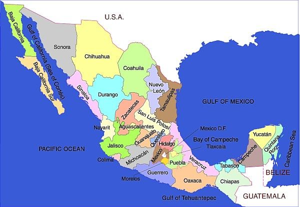 Basic map of Mexico and Mexico\'s states | Favorite Places & Spaces ...