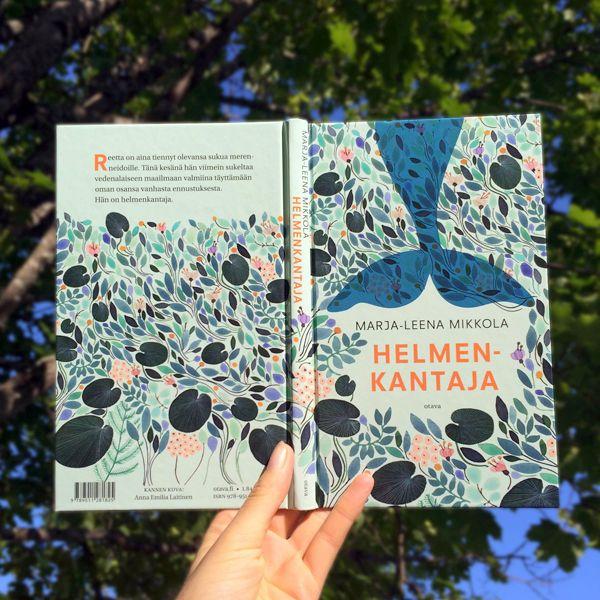 Anna Emilia Laitinen's book cover illustration for Helmen-Kantaja by Marja-Leena Mikkola