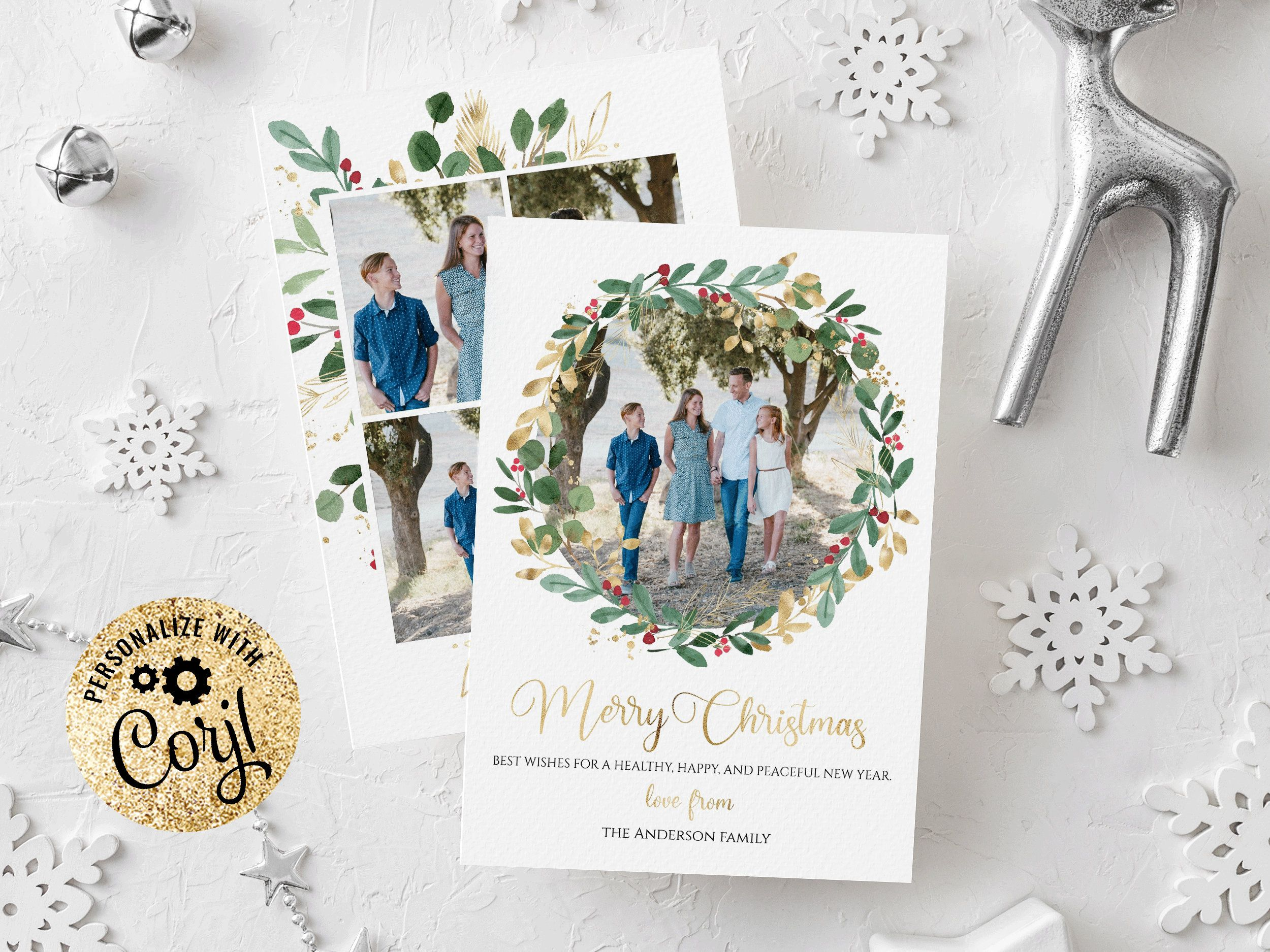 Christmas Card Template Christmas Cards Template 5x7 Photo Etsy In 2021 Christmas Card Template Holiday Card Template Printable Holiday Card