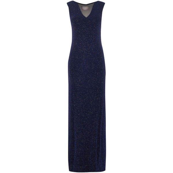Lipsy Sleeveless Mesh Insert Glitter Bodycon Maxi Dress ($105) ❤ liked on Polyvore featuring dresses, navy, women, bodycon dress, sleeveless bodycon dress, glitter dress, lipsy dress and body con dress
