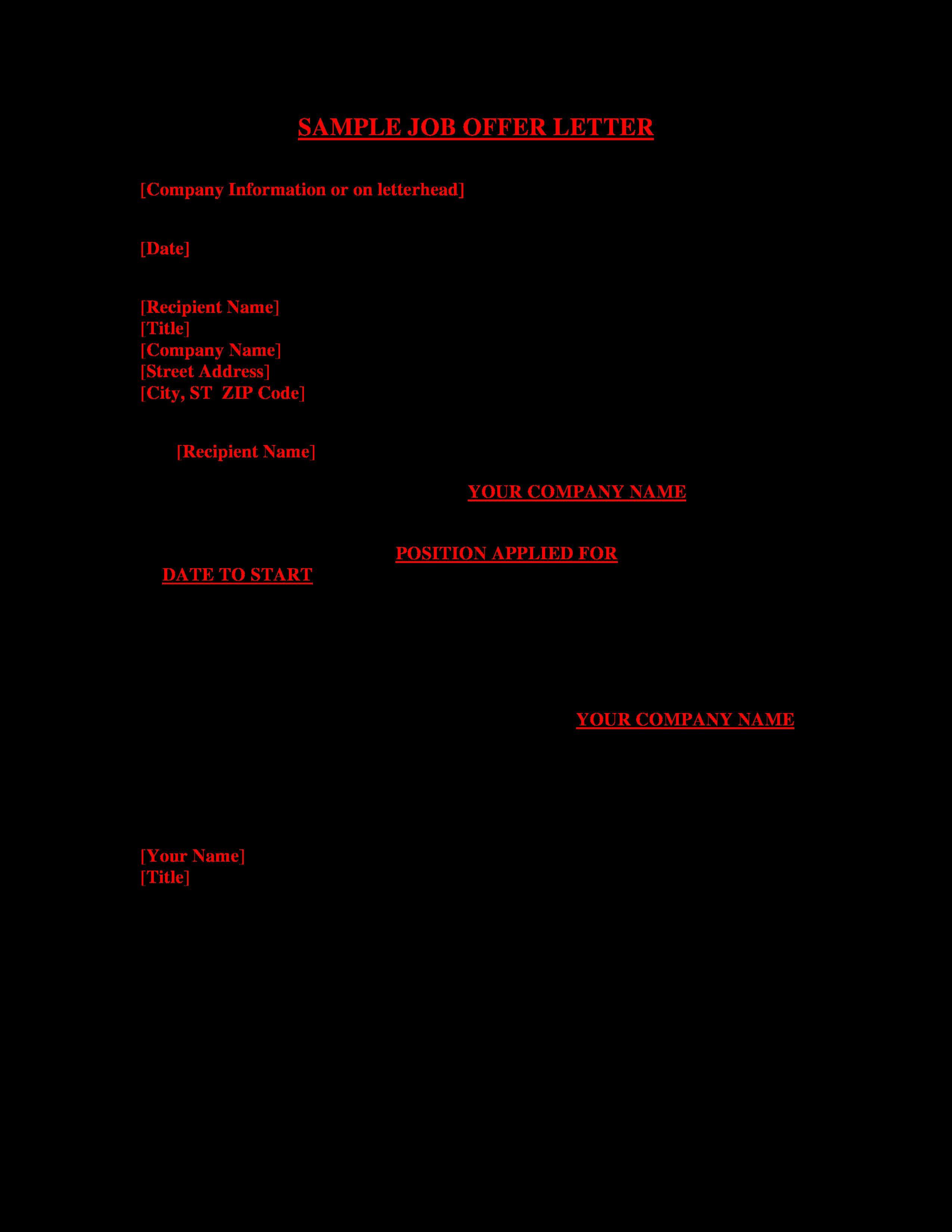 40 Job Offer Letter Example Business letter example