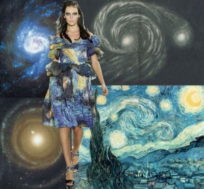 inspiration for Spring 2012 stemmed from Van Gogh's brushwork within his paintings. Upon seeing a sketch made in 1845 by Lord Rosse of the Whirlpool galaxy, we became interested in the connection found between images of the cosmos and Van Gogh's artistic style. This sketch was done 44 years before Van Gogh's Starry Night and there is a dir...