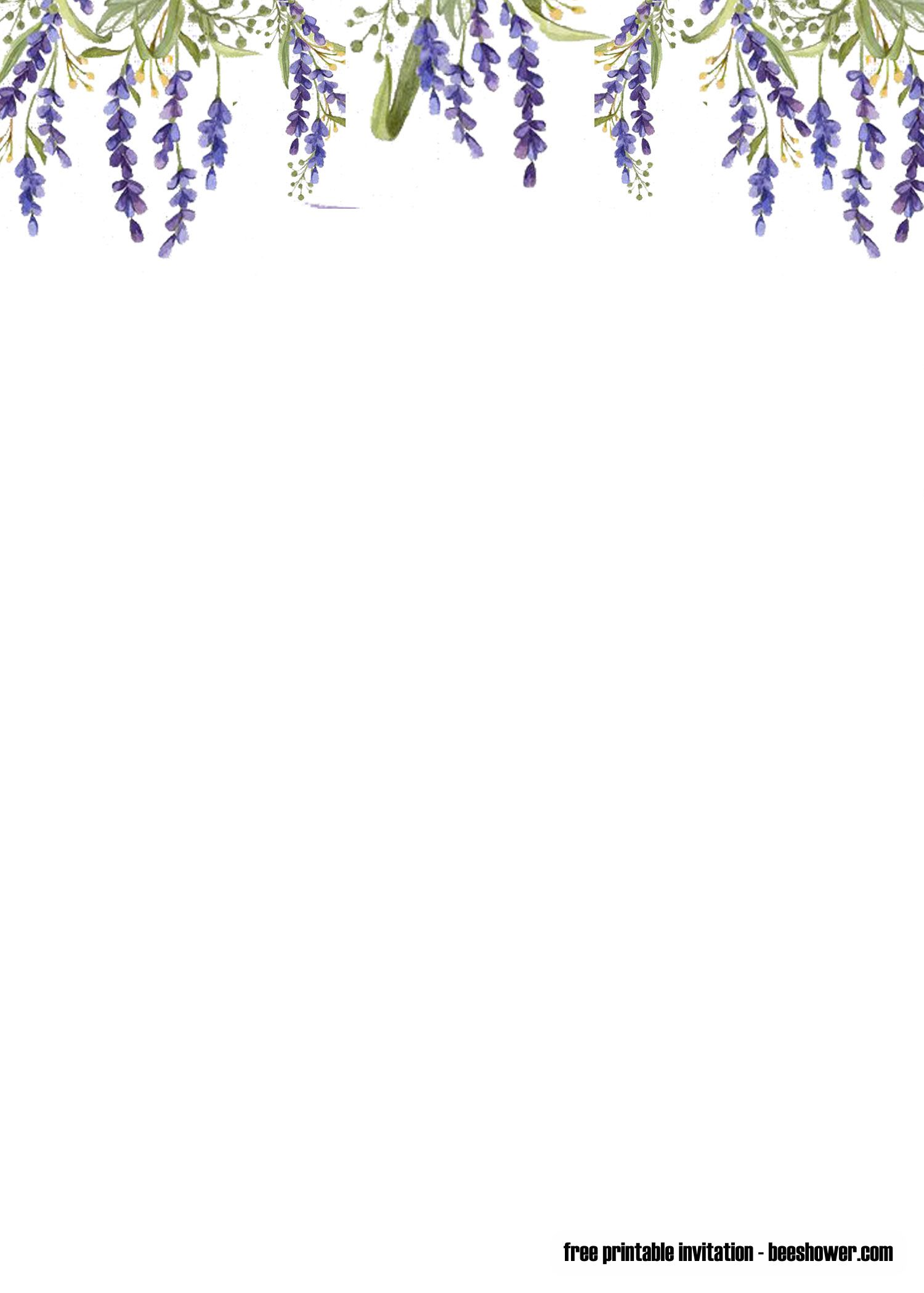 Free Printable Lavender Baby Shower Invitations Templates