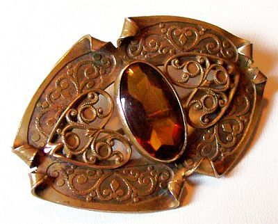 "Art Nouveau Vintage Brooch Pin Golden Topaz Glass Stone Etched Heart Design 2.5"" VG on Etsy, $49.50"