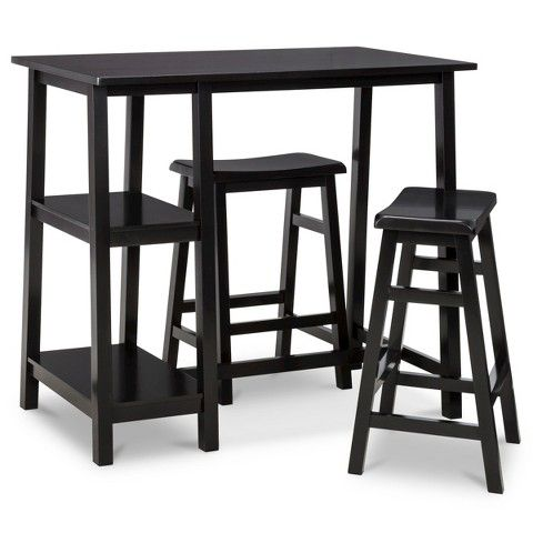 Threshold™ 3 Piece Pub Set with Saddle Stools and Shelving - BLACK ...