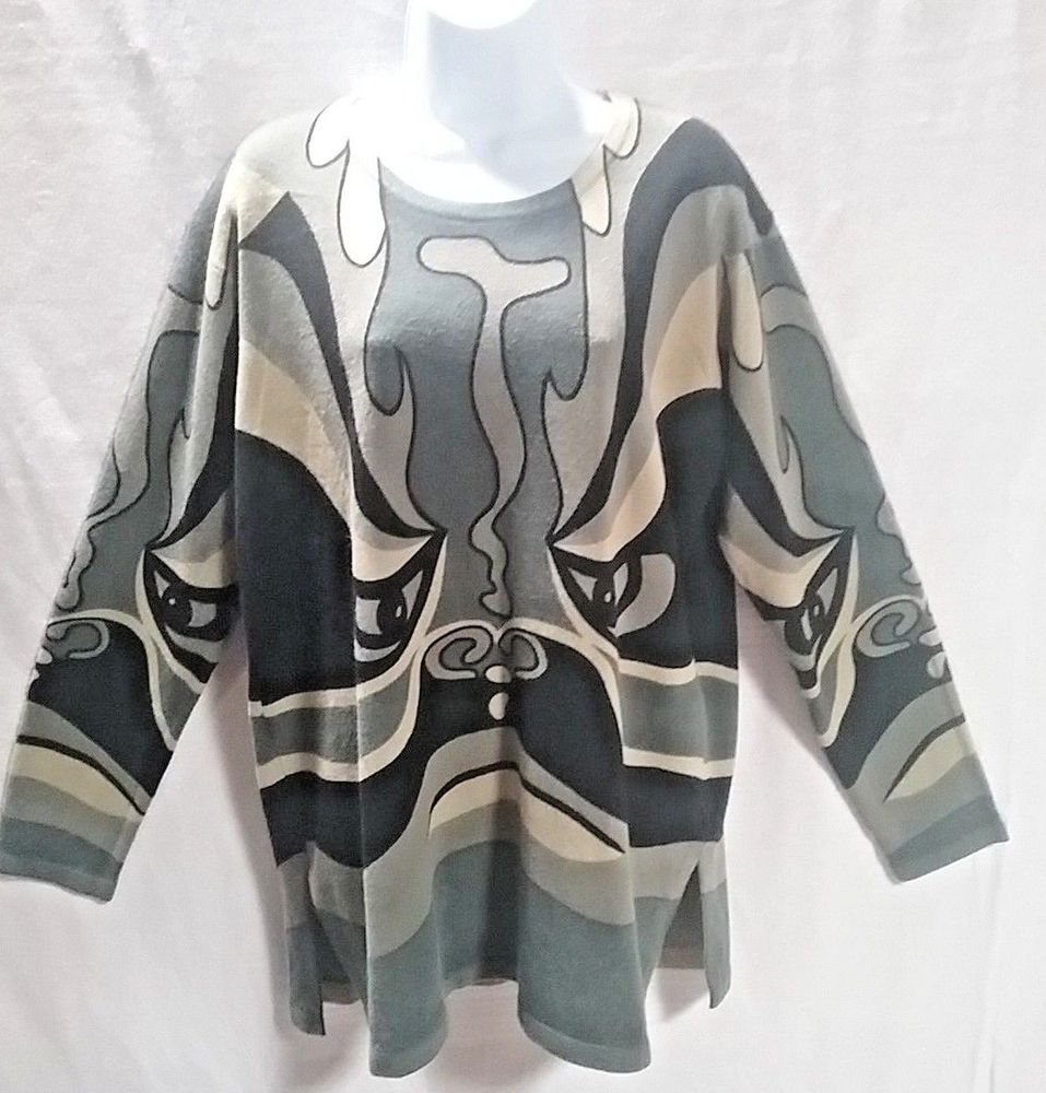 15f2ce6e039f56 Womens L multi color Green Black Tunic Sweater Jieke High Fashion Asian  Tribal  fashion  clothing  shoes  accessories  womensclothing  sweaters  (ebay link)